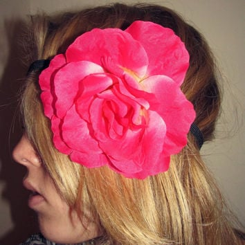 Hot Pink Big Rose Elastic Headband // Rave // EDC // Festival // Costume // Adult Size//