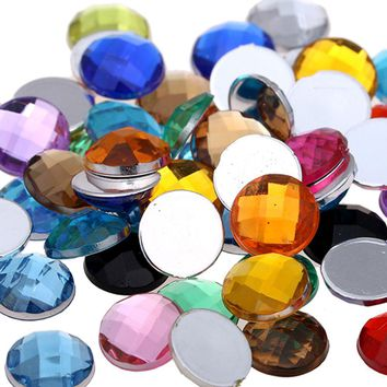 Round Earth Facetsd Many Colors And Many Size Acrylic Flatback Craft Art DIY Gems Rhinestone Strass High Shine Nail Stones
