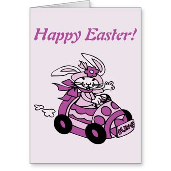 Easter Bunny Rabbit Egg Car Happy Easter Greeting Card