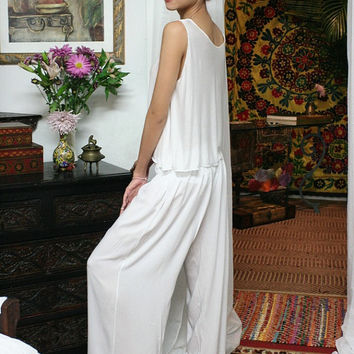 White Silk Pajamas Lounge Sleepwear Bridal Honeymoon Lingerie Wide Leg Cruise Wear