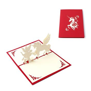 3D Handicraft Pop UP Stereoscopic Holiday Greeting Cards Horse with angel Thanksgiving Invitations Card Postcard Kartu ucapan