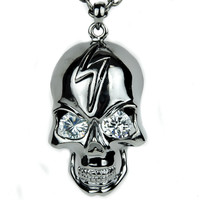 Black Metallic Silver Lightning Bolt Crystal Eyed Skull Necklace Metal Pendant