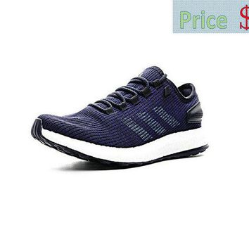 Genuine adidas Pure Boost 2017 UK Trainers Navy Blue Footwear White shoe