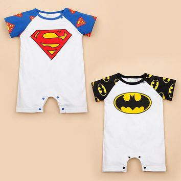 Free Shipping Retail 1 piece baby summer clothes Baby girl boy short sleeve Rompers Superman/Batman Cotton Infant baby jumpsuits