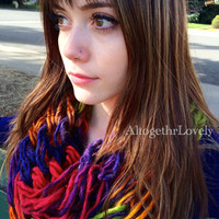 Kaleidoscope Scarf, Chunky Thick Rainbow Colors Multi-Colored Knit Infinity Scarf Yarn Art