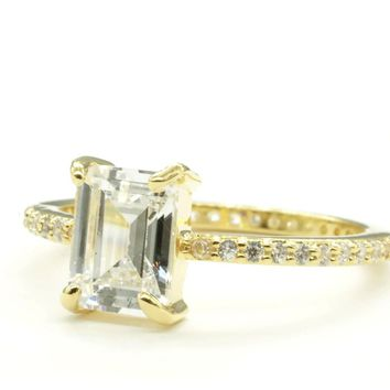 Emerald Cut Clear Cubic Zirconia and Micro Pave Engagement Style Gold Tone Fashion Ring
