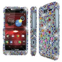 Empire Silver with Multi Colored Diamante Bling Case for Motorola DROID RAZR M XT907