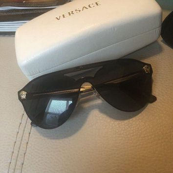 Versace Women's Ve2161 100287 42 Black Shield Sunglasses Preowned