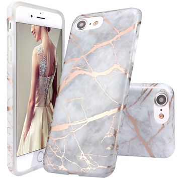 iPhone 7 Case,iPhone 8 Case,DOUJIAZ Gray Shiny Rose Gold Marble Design Clear Bumper TPU Soft Case Rubber Silicone Skin Cover for iPhone 7(2016)/iPhone 8(2017)