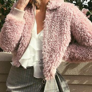 New Pink Zipper Faux Fur Mock Collared Teddy Lambswool Casual Coat