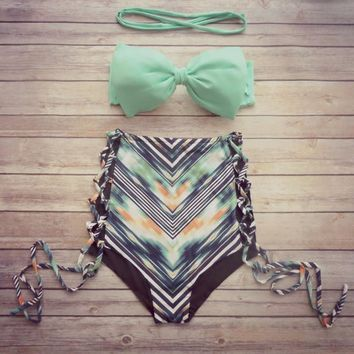 Brand High Waisted Bathing Suits Print Swimwear Women 2016 High Waist Bikini Swimwear for Women BK093