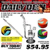 DAILY DEAL 08/12/2015: 1x 14mm Black Lip Honey Comb Recycler with Glass Nail and Globe + 1x Dabber Pick D04 + 3x DW Jars