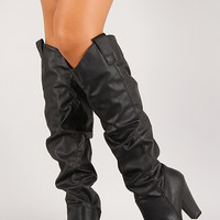 Leatherette Slouchy Chunky Heel Knee High Boot