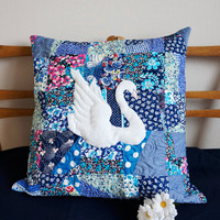 Patchwork Pillow, White Swan, Throw Pillow Cover, Blue Decorative Pillow, Unique Handmade Pillow Case, Romantic Sofa Pillow, Bedroom Decore