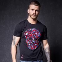 Slim Shirt Men Short Sleeve Cotton Print Round-neck Men's Fashion Summer T-shirts [10488640451]