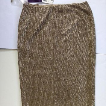 Couture: Beaded Carlotta Pencil Skirt In Tan Gold Silk Lined Nwt (Ralph Lauren Collec