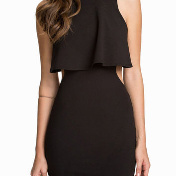 Black Layered Backless Sleeveless Mini Bodycon Dress
