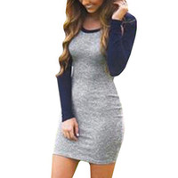 Long Sleeve Party Patchwork Slim Fit Dress Female Sheath Tunic  Pencil Dress Sexy Casual Stretch Bodycon Dresses