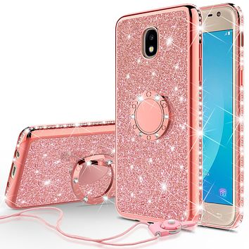 Samsung Galaxy J3 2018, J3 V 3rd Gen, J3 Orbit, Express Prime 3, SM-J337A Case, J3 Star, J3 Achieve, J3 Aura, Amp Prime 3, Glitter Cute Phone Case Girls with Kickstand, Bling Diamond Rhinestone Ring Stand Luxury Thin Soft Cover for Women - Rose Gold