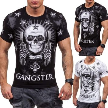 Mens T-Shirt Short Sleeve Skull Print Casual