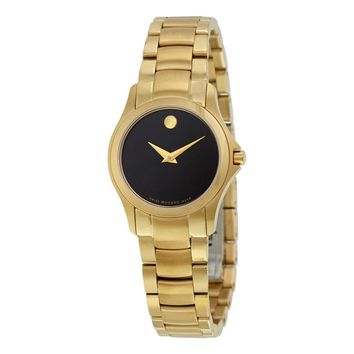 Movado Masino Black Dial Yellow Gold PVD Stainless Steel Ladies Watch