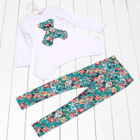 New Cute Kids Girls Bear Autumn Long Sleeved T-shirt + Flower Elastic Legging Clothes Sets 4-9Y
