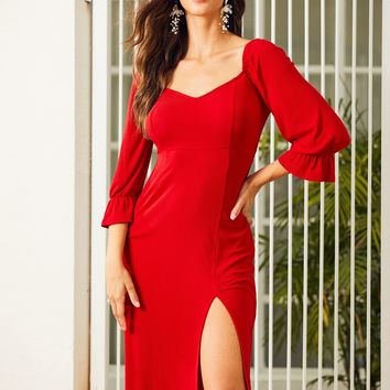 Red Slit Hem Shirred Detail Sweetheart Neck Dress