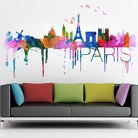 Paris Skyline Watercolor Stickers, 58.3 x 30.3 Inches | 148 x 77 cm