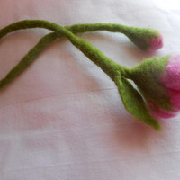 Felted Bookmark,felt pink gray flower, flower bookmark,wet felt wool rose bud,unique gift for her,inspirational women gift, flower bookmark
