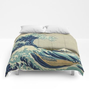 The Classic Japanese Great Wave off Kanagawa Print by Hokusai Comforters by podartist