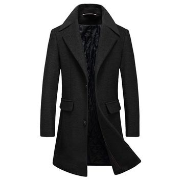 Long Turn Down Collar Wool Coat Thicken Warm Single Breasted Wool Winter Jacket Man