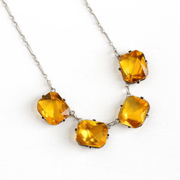 Vintage Art Deco Simulated Citrine Open Back Necklace - 1920s 1930s Sterling Silver Brownish Yellow Amber Glass Flapper Paperclip Jewelry