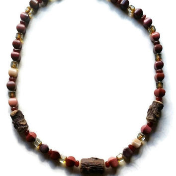 Woodland wonder necklace. Black Walnut Beads, Mookite semi precious gemstones and crystal necklace, Real wooden beads made from branches.