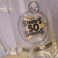 Vintage Pittsburgh Steelers 50th season glass mug, 1982, football barware, beer mug, black and gold collectible