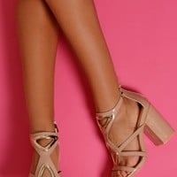 Captivating Nude and Gold Block Heels | Pink Boutique