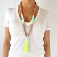 Boho Tassel Necklace - Aqua, White and Neon Yellow Tassel