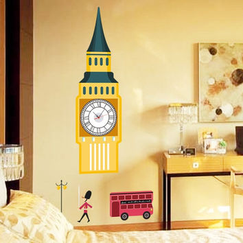 Large London Big Ben Bus Guard Wall Clock Wall Decal Sticker Real Clock Wall Sticker Home Decor 158*70CM