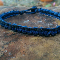 Mens Hemp Bracelet, Support a Police Officer, Blue and Black Bracelet, Mens Jewelry, Hemp Bracelet, Gift for Him