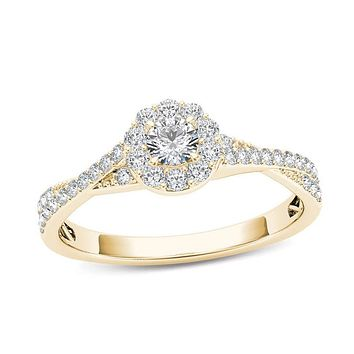 1/2 CT. T.W. Diamond Frame Twist Shank Engagement Ring in 14K Gold