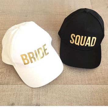 Trendy Winter Jacket BRIDE SQUAD Baseball Caps Golden Print New Style Hats Women Wedding Preparewear White Black Bachelor party Summer Lovers Hats AT_92_12