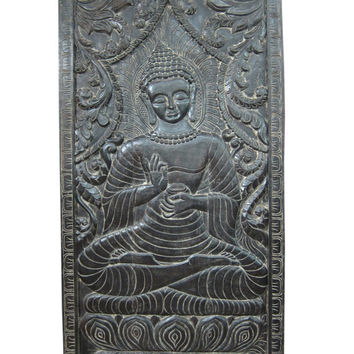 "Decorative Wall Panel Buddha Teaching Vitarka Mudra Meditation Door Panel 72"" X 36"""