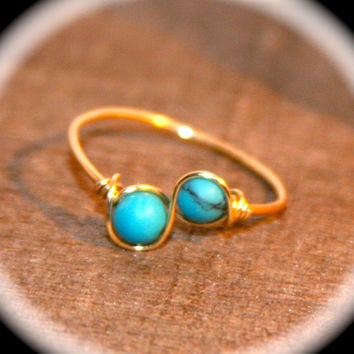Tiny Infinity Turquoise 14k Gold Ring Handmade, Wire Wrapped Ring, Knuckle Ring, Gold Stacking Wire Ring, Gold Thin Ring, Minimalist Ring