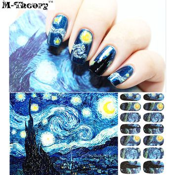 Quality Fashion Nail Art Stickers Adhesive Nails Wraps Durable Waterproof 1-2 Weeks Van Gogh Starry Night Designs