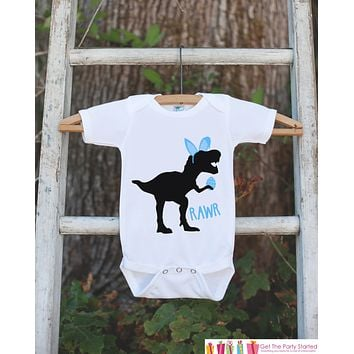 Kids Easter Outfit - Dinosaur Easter Bunny Onepiece or Tshirt - Boys Happy Easter Shirt - Baby Toddler Youth Blue Bunny Ears Dinosaur Shirt