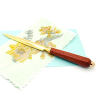 Hand turned 24K plated gold deluxe letter opener featuring Bloodwood, handmade wooden letter opener, wood desk accessory, Exotic wood