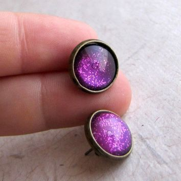 Fuchsia Sparkle 12mm Antiqued Brass Post Earrings