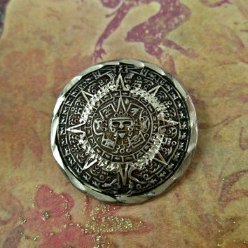 Vintage Aztec Sun God Sterling Silver Pin Brooch or Pendant Made in Mexico Hecho En Mexico 925 MNH Wonderfully Detailed Nice Collectible