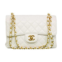 Chanel 1995 2in1 White Quilted Leather Double Sided Classic Flap Bag w Chain