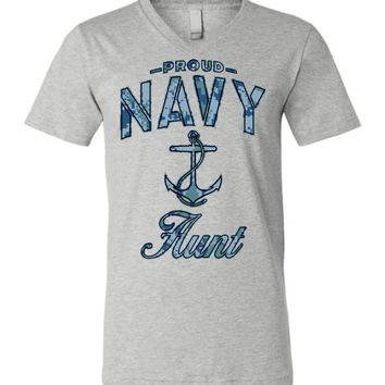 Proud Navy Aunt Unisex V-Neck T-Shirt (Camo)