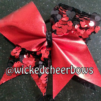 Cheer Bow - Red/Red & Black Reversible Sequins Tick Tock Bow